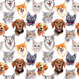 Exotic cat and dog wild animal pattern in a watercolor style. royalty free illustration