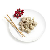 Exotic Christmas meal. Plate setting with a exotic Christmas meal concept. Or a heavy meal concept. Included clipping path Royalty Free Stock Photography