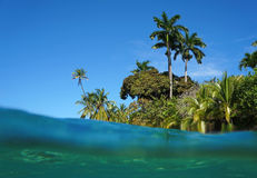 Exotic coast from water surface Stock Image
