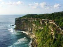 Exotic coastline with huge sea waves. Bali seaside landscape. Royalty Free Stock Image
