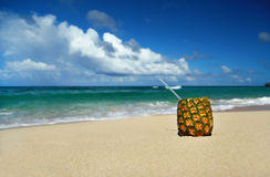 Exotic cocktail on caribbean beach Royalty Free Stock Photography