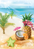 Exotic cocktail on a summer tropical beach. Exotic fruit coconut cocktail on a summer tropical beach background. Vector illustration royalty free illustration
