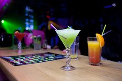 Exotic cocktails on the  bar counter Royalty Free Stock Image