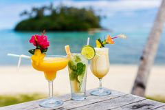 Exotic cocktails. In a tropical setting stock images