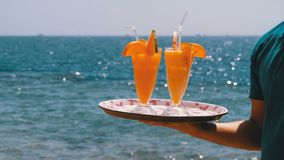 Exotic cocktails in a glass with a straw on a tray on the background of the sea. Egypt. stock video footage