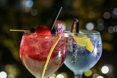 Exotic cocktails. Made with blueberries and strawberry stock image