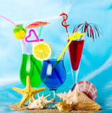 Exotic cocktails with tropical fruit Stock Image