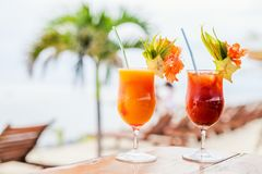 Exotic cocktails stock photo