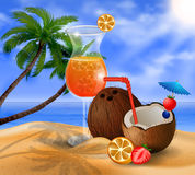 Exotic coconut cocktail Royalty Free Stock Photos