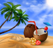 Exotic coconut cocktail Stock Image