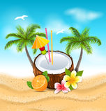 Exotic Coconut Cocktail with Frangipani, Orange and Palm Trees Stock Photo