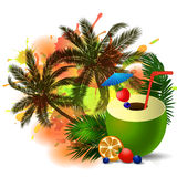 Exotic coconut cocktail green Royalty Free Stock Photo