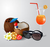 Exotic coconut cocktail Royalty Free Stock Photo