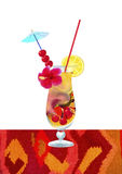 Exotic coctail. Colorfull pastel oil painting of exotic coctail isolated on white background. Illustration background.Summer concept stock illustration