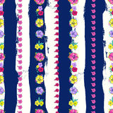 Exotic colorful flowers on a white-blue background with stripes Stock Photography