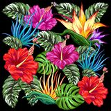 Tropical Flora Summer Mood Pattern Vector Textile Design. Exotic and Colorful Tropical Plants, Leaves and Flowers Bouquet, created on Vector Graphic Art stock illustration