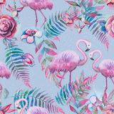 Exotic composition of tropical birds pink flamingo. Jungle beach seamless pattern wallpaper with leaves and flowers. Background royalty free illustration