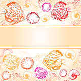 Exotic coral fishes and shells  illustration text strip Stock Images