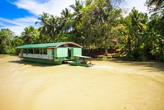 Exotic cruise boat with tourists on jungle river Stock Photography