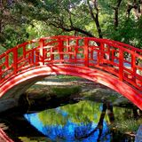 Exotic Curved Red Oriental Bridge overlooking Reflective water. Stock Photography