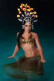 Exotic Dancer with Fire Headdress Royalty Free Stock Images