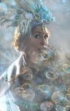 Exotic dancer wearing performance costume, tinted image. Portrait of exotic dancer wearing performance costume, tinted image Royalty Free Stock Images