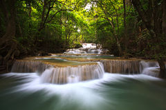 Exotic deep forest waterfall in Thailand Stock Image