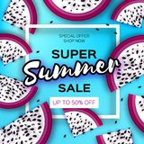 Exotic Dragon Fruit Super Summer Sale Banner in paper cut style. Origami juicy ripe dragonfruit slices. Healthy food on. Blue. Summertime. Square frame for text Royalty Free Stock Photos