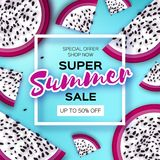 Exotic Dragon Fruit Super Summer Sale Banner in paper cut style. Origami juicy ripe dragonfruit slices. Healthy food on. Blue. Summertime. Square frame for text Stock Image