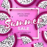 Exotic Dragon Fruit Super Summer Sale Banner in paper cut style. Origami juicy ripe dragonfruit slices. Healthy food on. Pink. Summertime. Square frame for text Royalty Free Stock Image