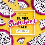 Exotic Dragon Fruit Super Summer Sale Banner in paper cut style. Origami juicy ripe dragonfruit slices. Healthy food on. Yellow. Summertime. Square frame for Stock Photo