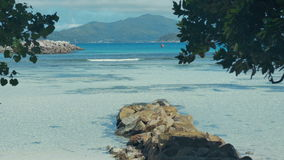 Exotic dream - Beach on island La Digue in Seychelles. stock video footage