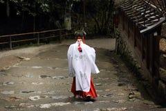 Exotic dress of japanese shinto priestess