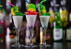 Exotic drink based on Malibu rum and other ingredients, cocktail. Prepared by the bartender, decorated drink Royalty Free Stock Images