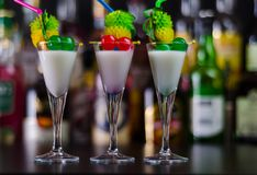 Exotic drink based on Malibu rum and other ingredients, cocktail. Prepared by the bartender, decorated drink Royalty Free Stock Image