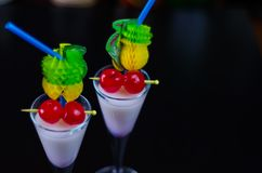 Exotic drink based on Malibu rum and other ingredients, cocktail. Prepared by the bartender, decorated drink Stock Photo