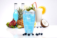 Exotic drinks and berries set with fruits Royalty Free Stock Photo