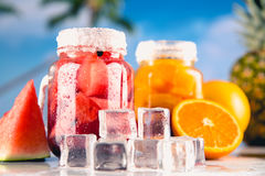 Exotic drinks with fruits in jar Stock Image
