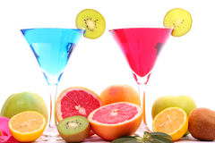 Exotic drinks in martini glass. Exotic drinks and exotic fruits Stock Images