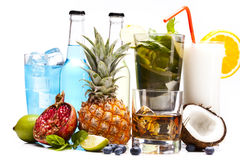 Exotic drinks set with fruits Stock Photo