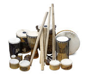 Exotic drums. Isolated on white stock image