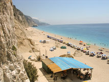 Exotic Egremni beach in Lefkada Greece. Royalty Free Stock Images