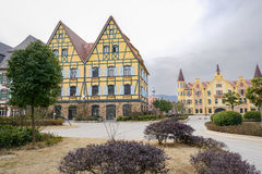Exotic European style town in cloudy winter afternoon Royalty Free Stock Photography