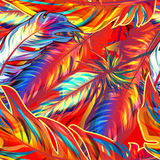 Exotic feather. Vector seamless bright texture Royalty Free Stock Image