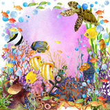 Exotic Fish, coral reef, algae. Underwater world. coral reef fish watercolor illustration, unusual sea fauna, sea shells, anemones and decoration marine theme Stock Image