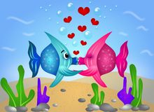 Exotic fish love. Illustration of two kissing fish under water Royalty Free Stock Images