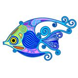 Exotic Fish Tattoo Decorative-2. Cute and Colorful Exotic Fish, on Tattoo Decorative Style, created on Vector Graphic Art Technique. BluedarkArt Copyright royalty free illustration