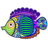 Exotic Fish Tattoo Decorative-3. Cute and Colorful Exotic Fish, on Tattoo Decorative Style, created on Vector Graphic Art Technique. BluedarkArt Copyright Royalty Free Stock Image