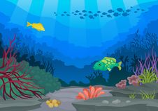 Exotic fish and underwater world. Vector illustration. Exotic fish and underwater world. Ocean flora and fauna. Seascapes concept. Vector flat illustration royalty free illustration
