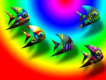Exotic fishes. Of different colours for a background Royalty Free Stock Photography